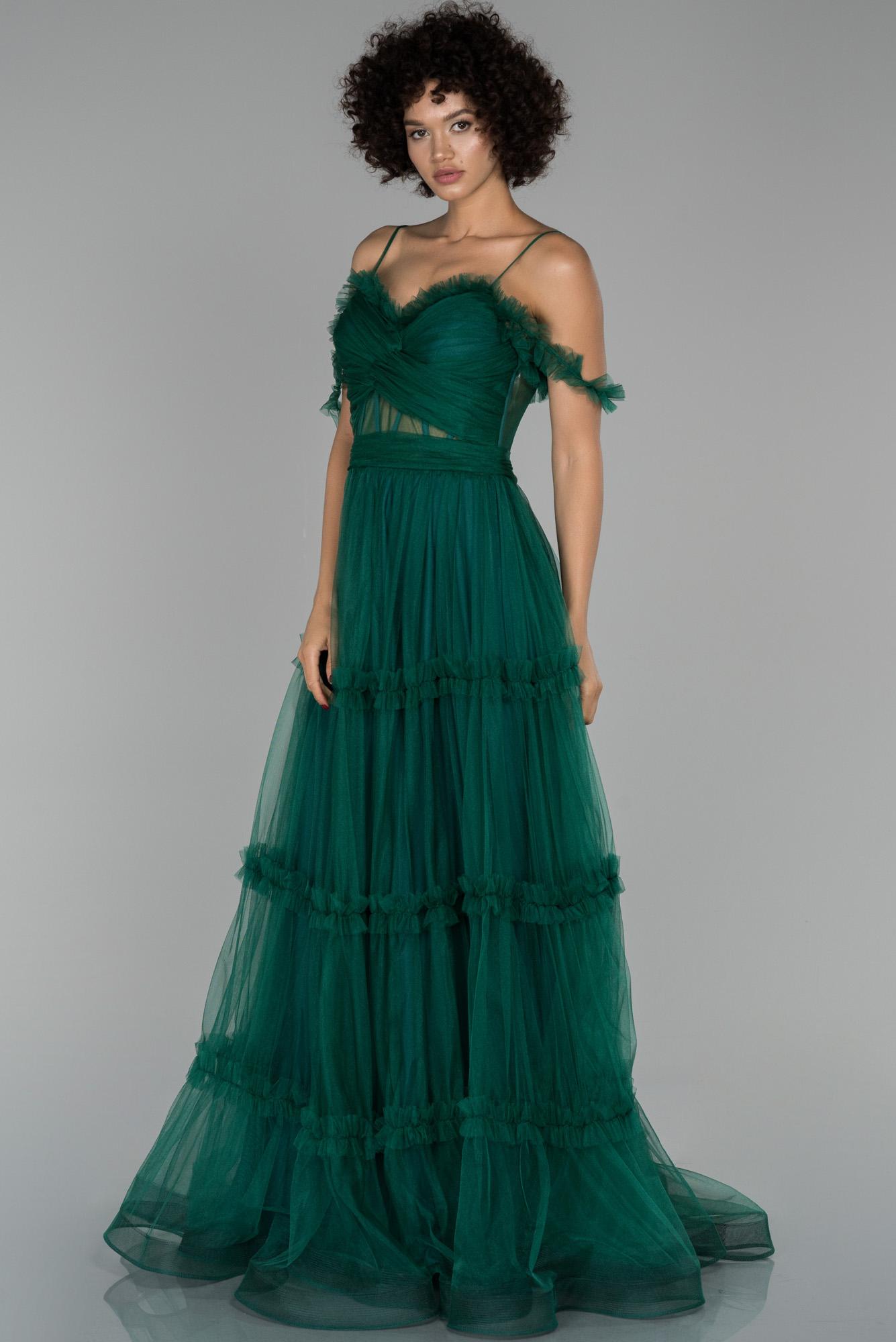 Zümrüt Yeşili Uzun Transparan Kol Detaylı Abiye Elbise
