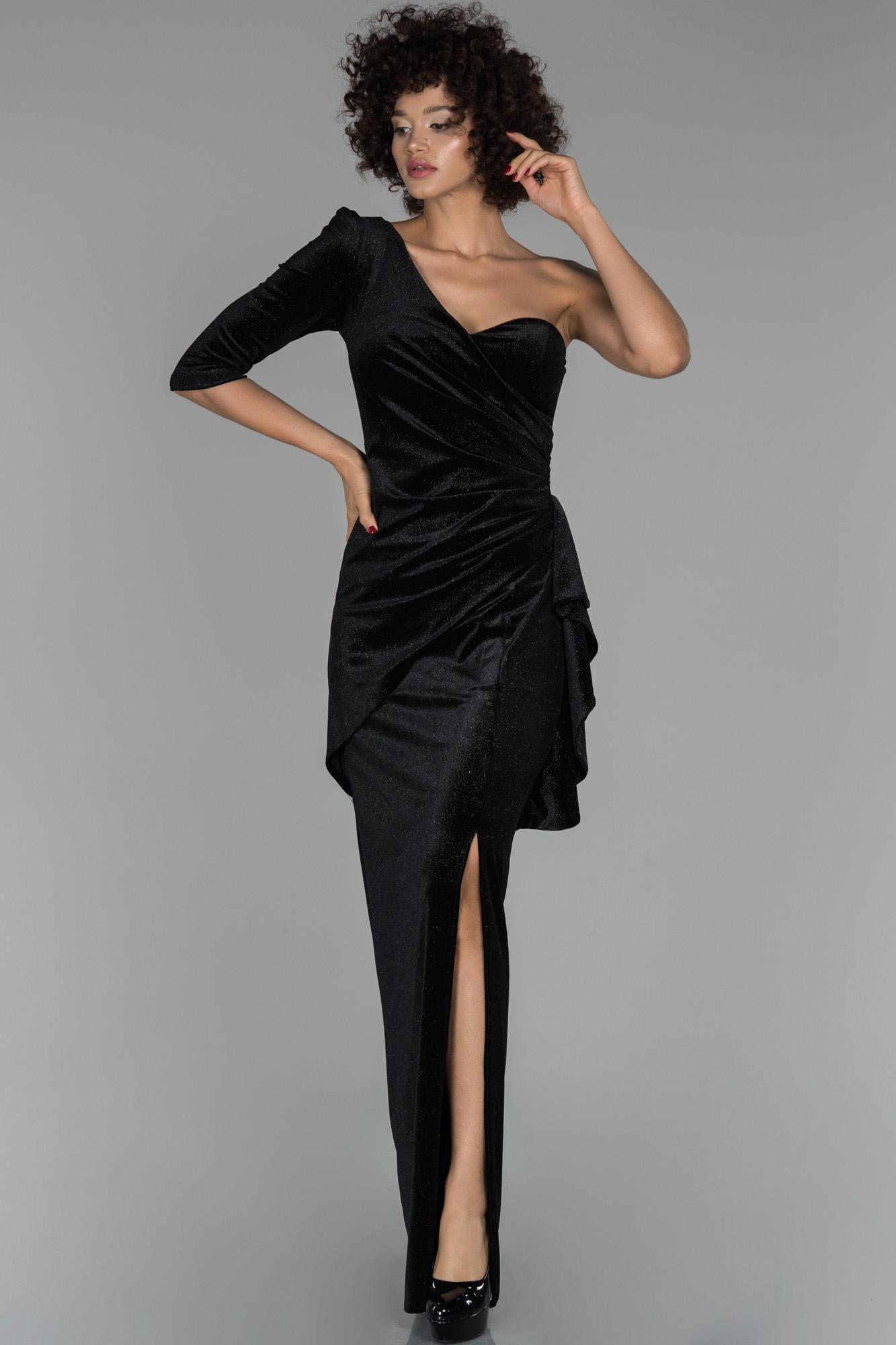 Siyah Uzun Tek Kol Balık Kadife Abiye Elbise