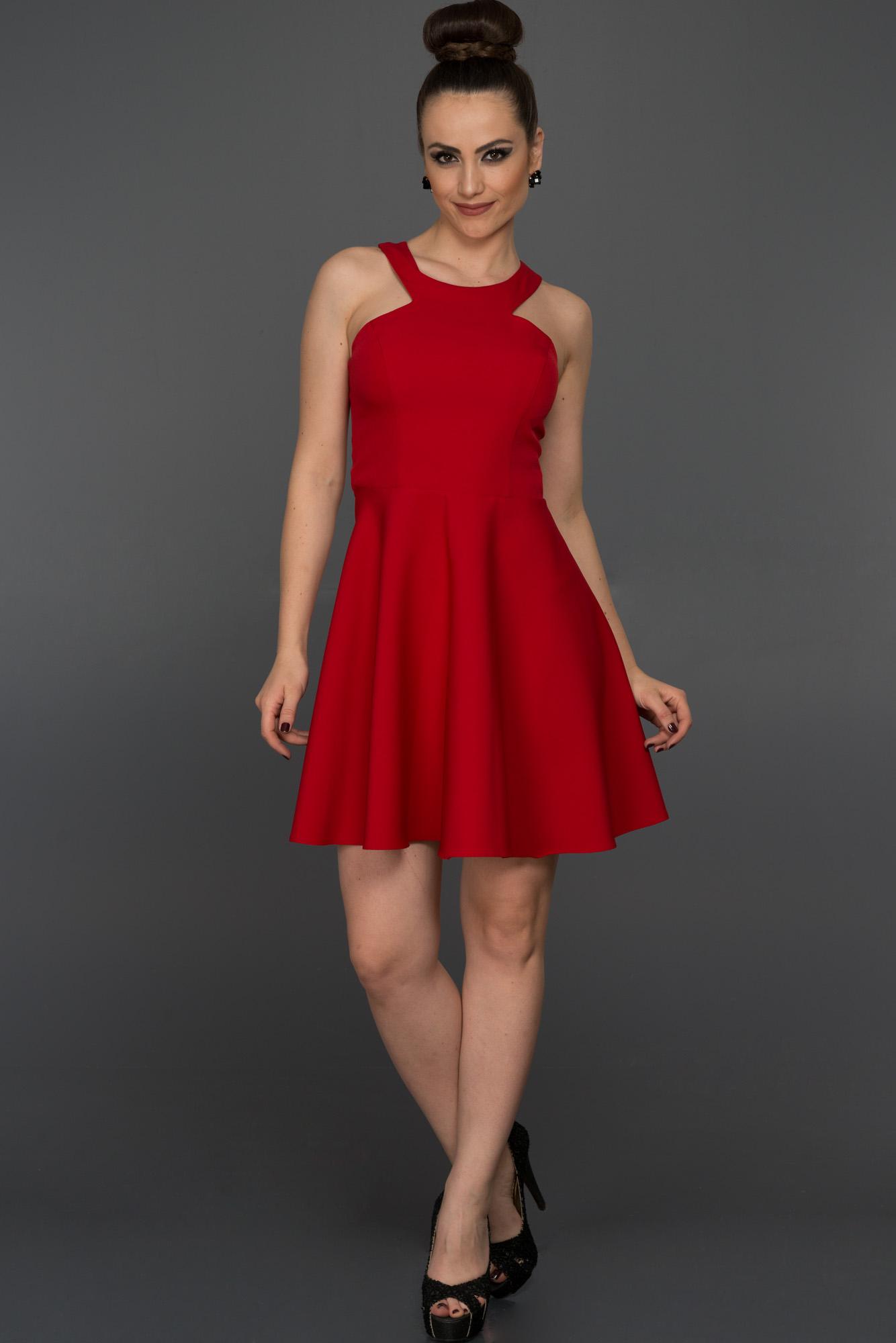 Kırmızı Kısa Düz Abiye Elbise