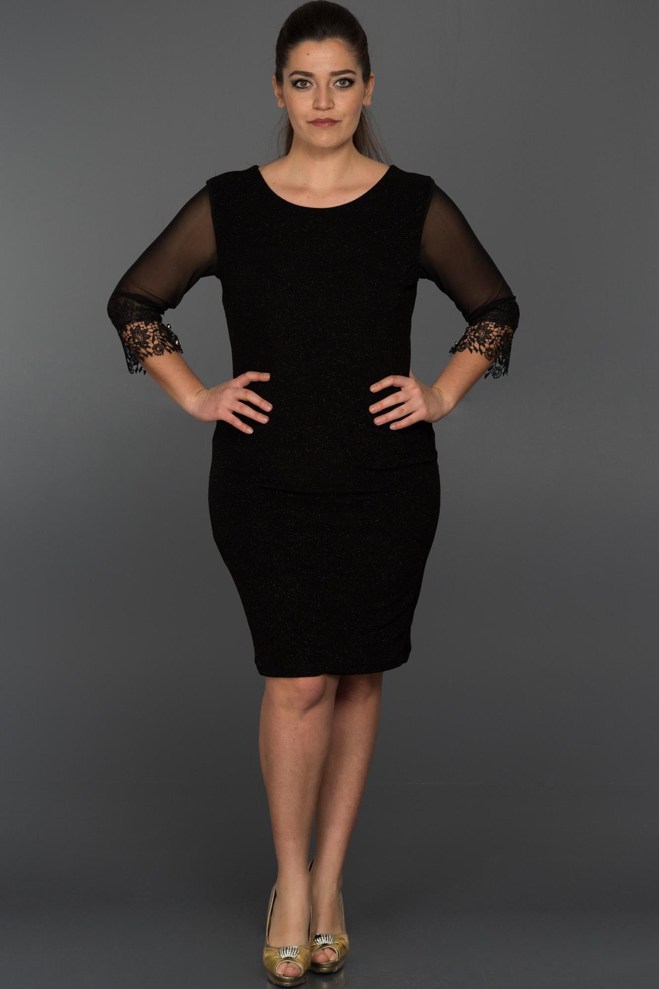 Siyah Kapri Kol Büyük Beden Elbise