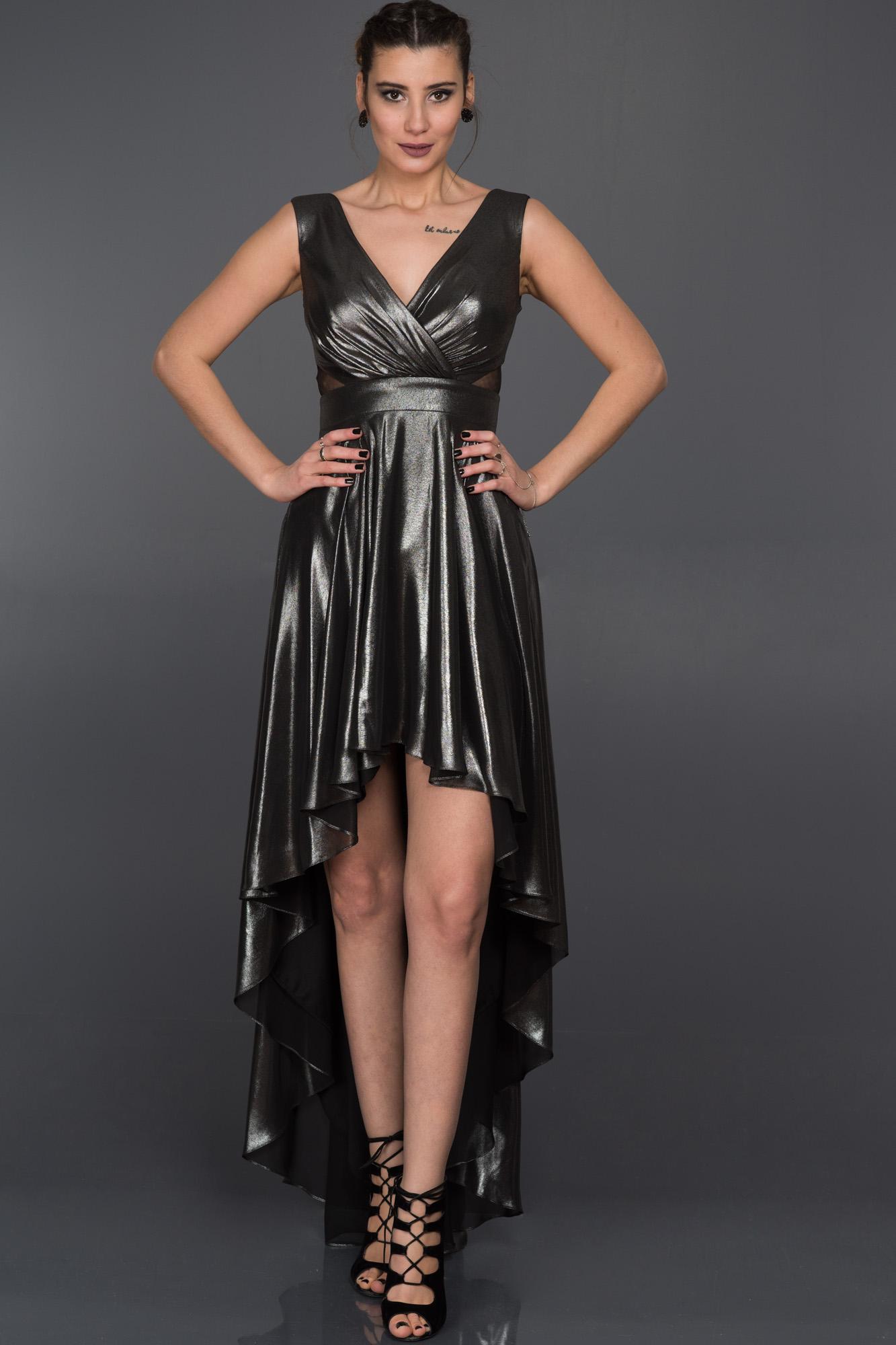 Fotos prenses elbise modelleri picture - Gri N K Sa Arkas Uzun Abiye Elbise F5639