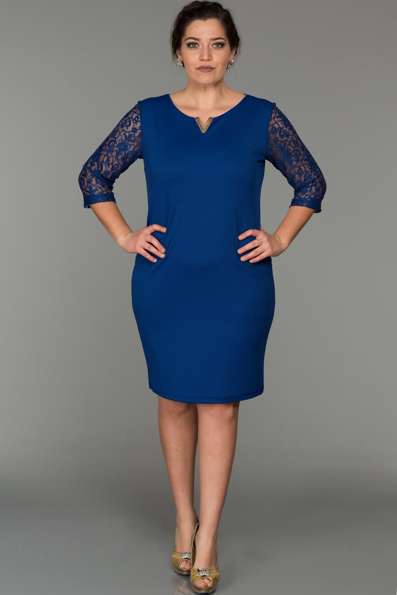 Kısa Saks Mavi Işlemeli Büyük Beden Elbise
