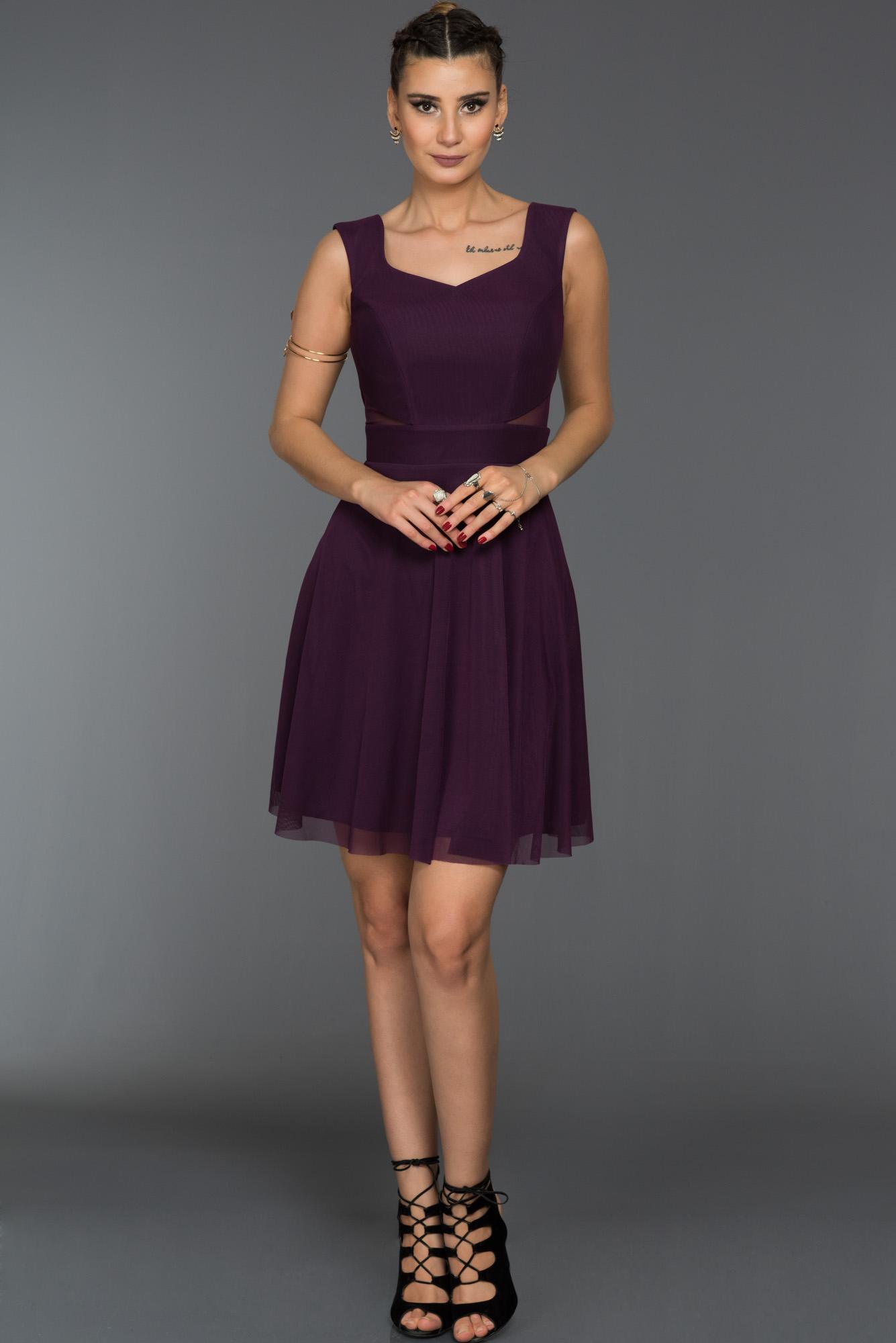 Violet Kısa Tül Abiye Elbise