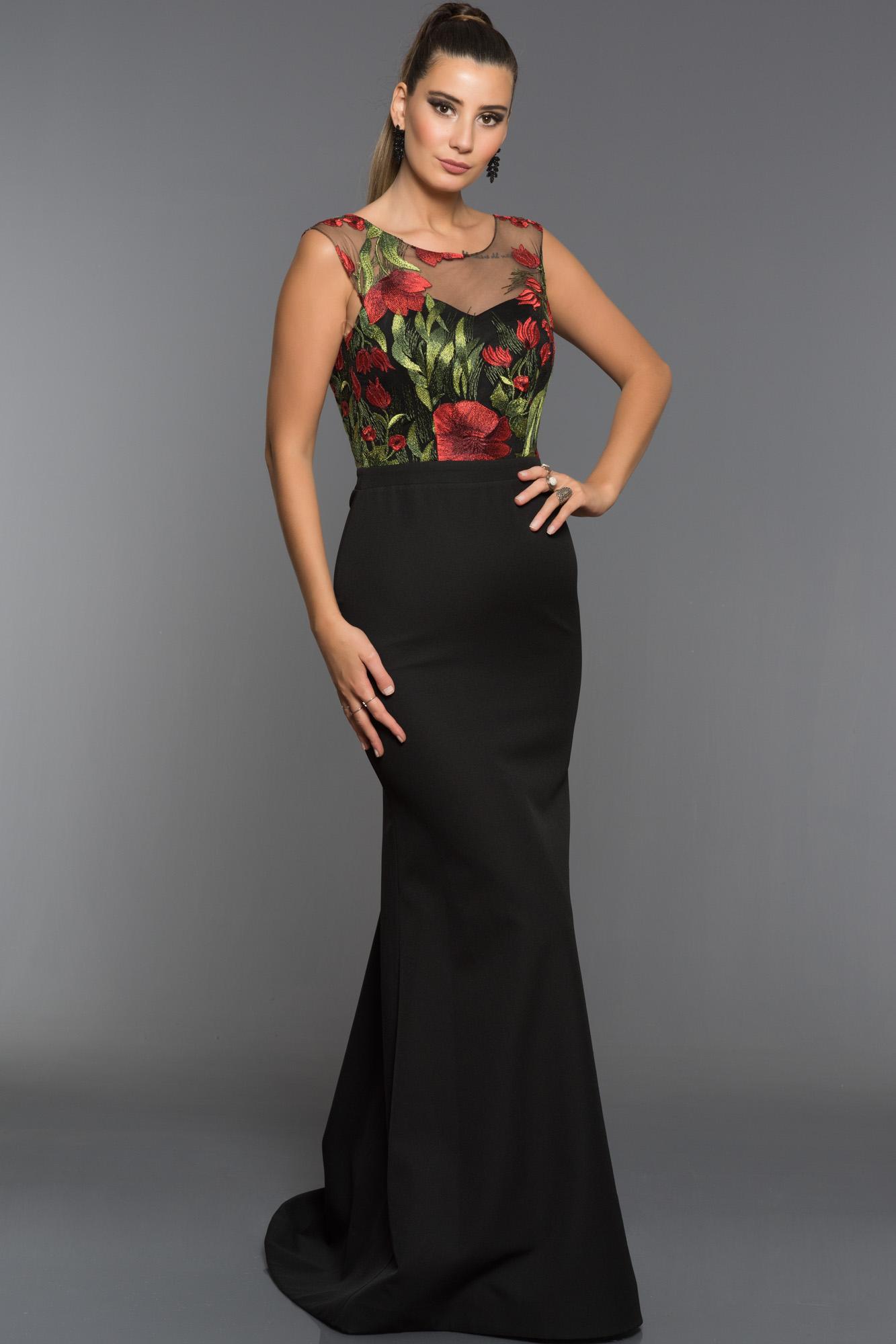 Siyah-Kırmızı Çiçekli Balık Abiye