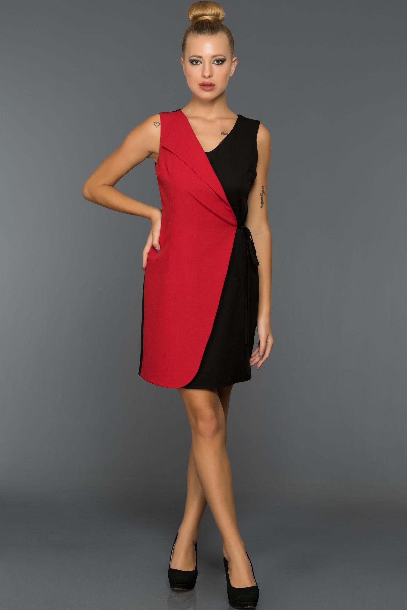 Kısa Siyah-Kırmızı Iki Renk Elbise
