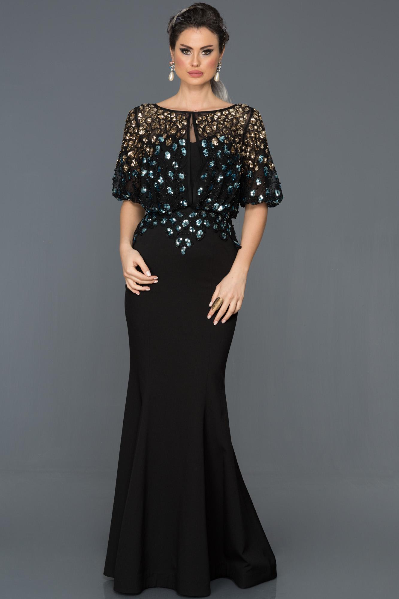 Siyah Payetli Balık Abiye Elbise