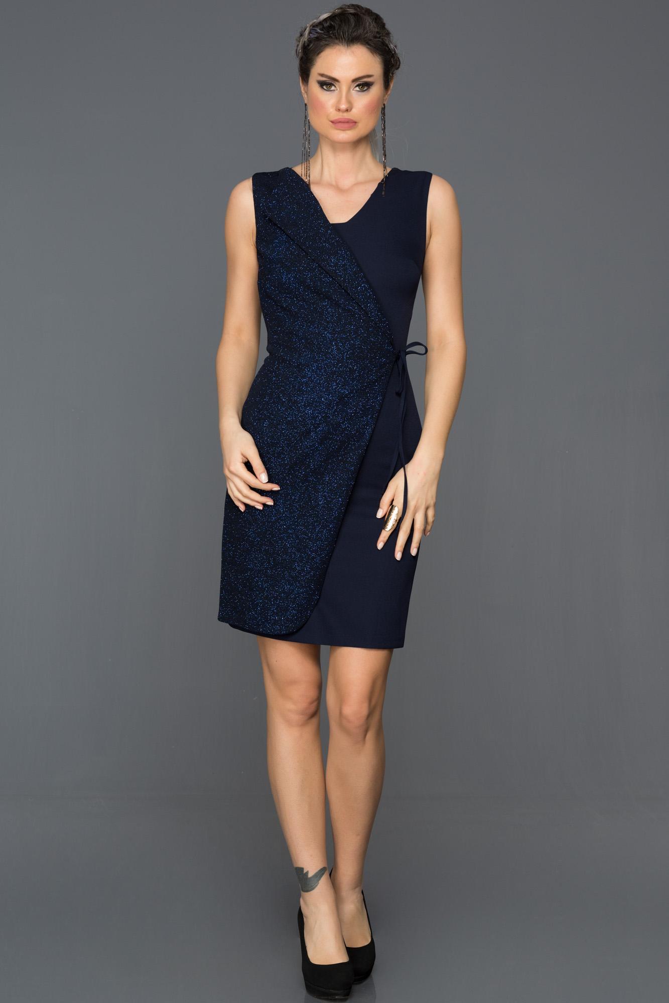Lacivert Yandan Bağlamalı Elbise