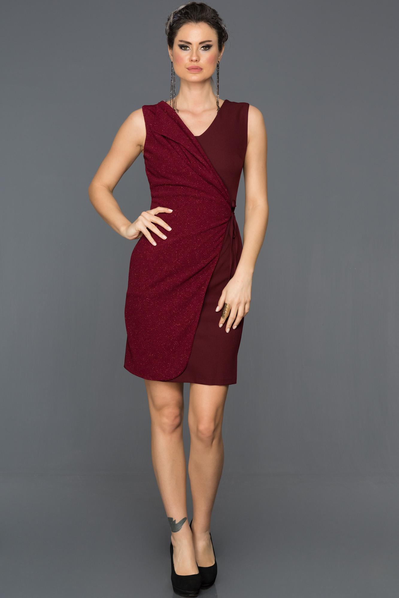 Bordo Yandan Bağlamalı Elbise
