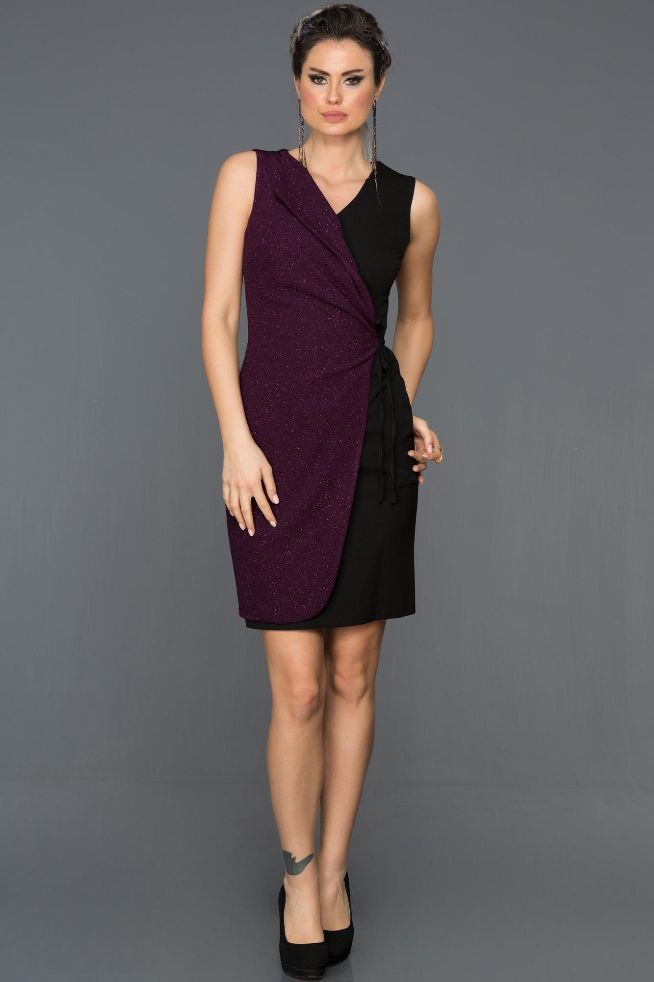 Siyah-Mor Yandan Bağlamalı Elbise