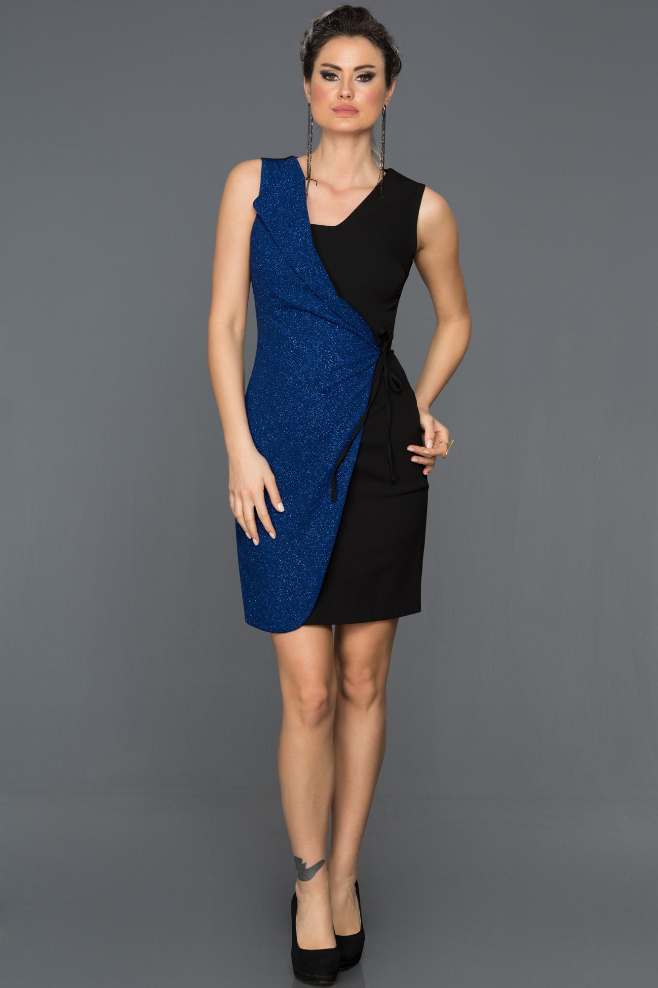 Siyah-Saks Mavi Yandan Bağlamalı Elbise