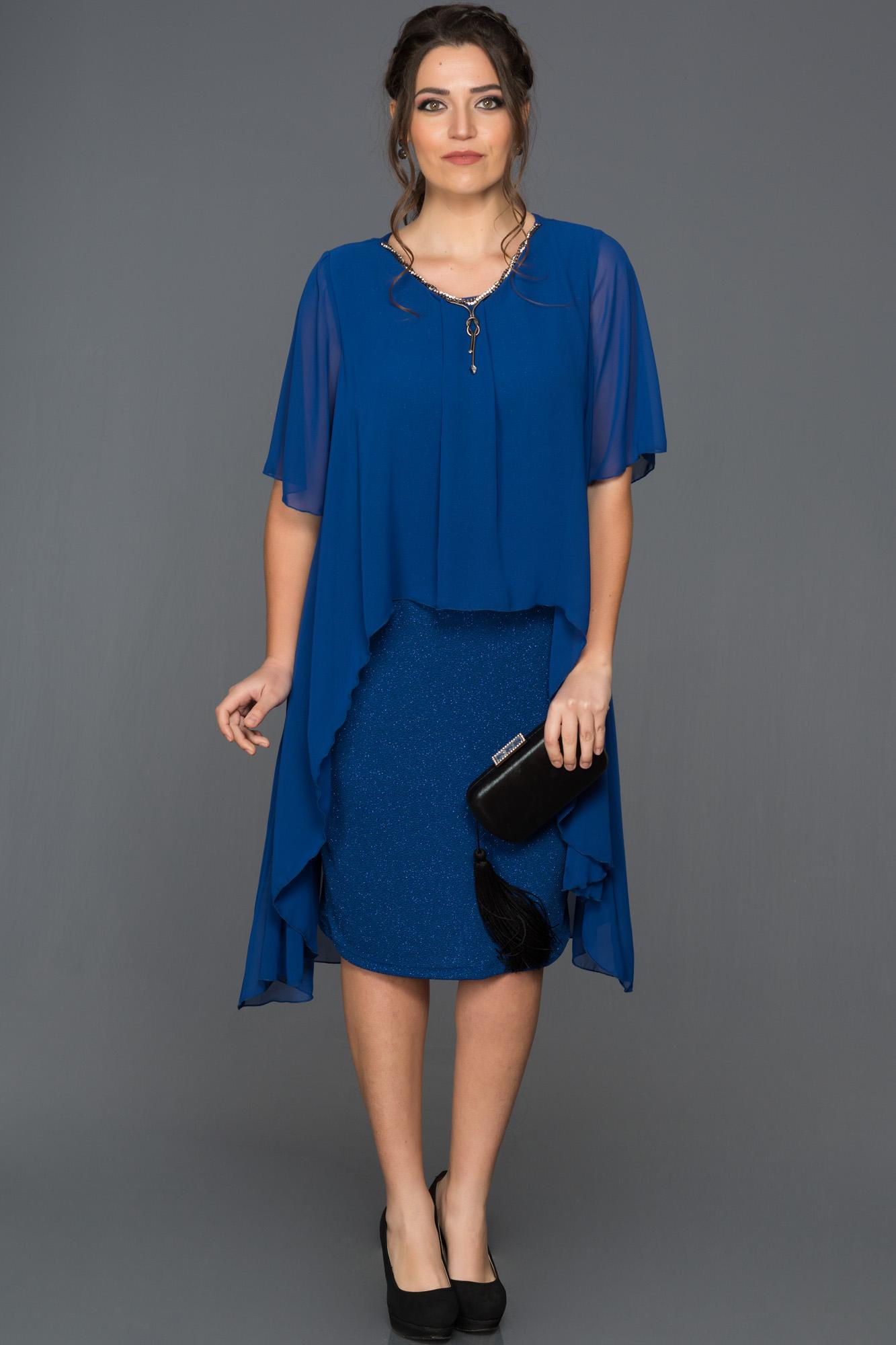 Saks Mavi Büyük Beden Davet Elbisesi