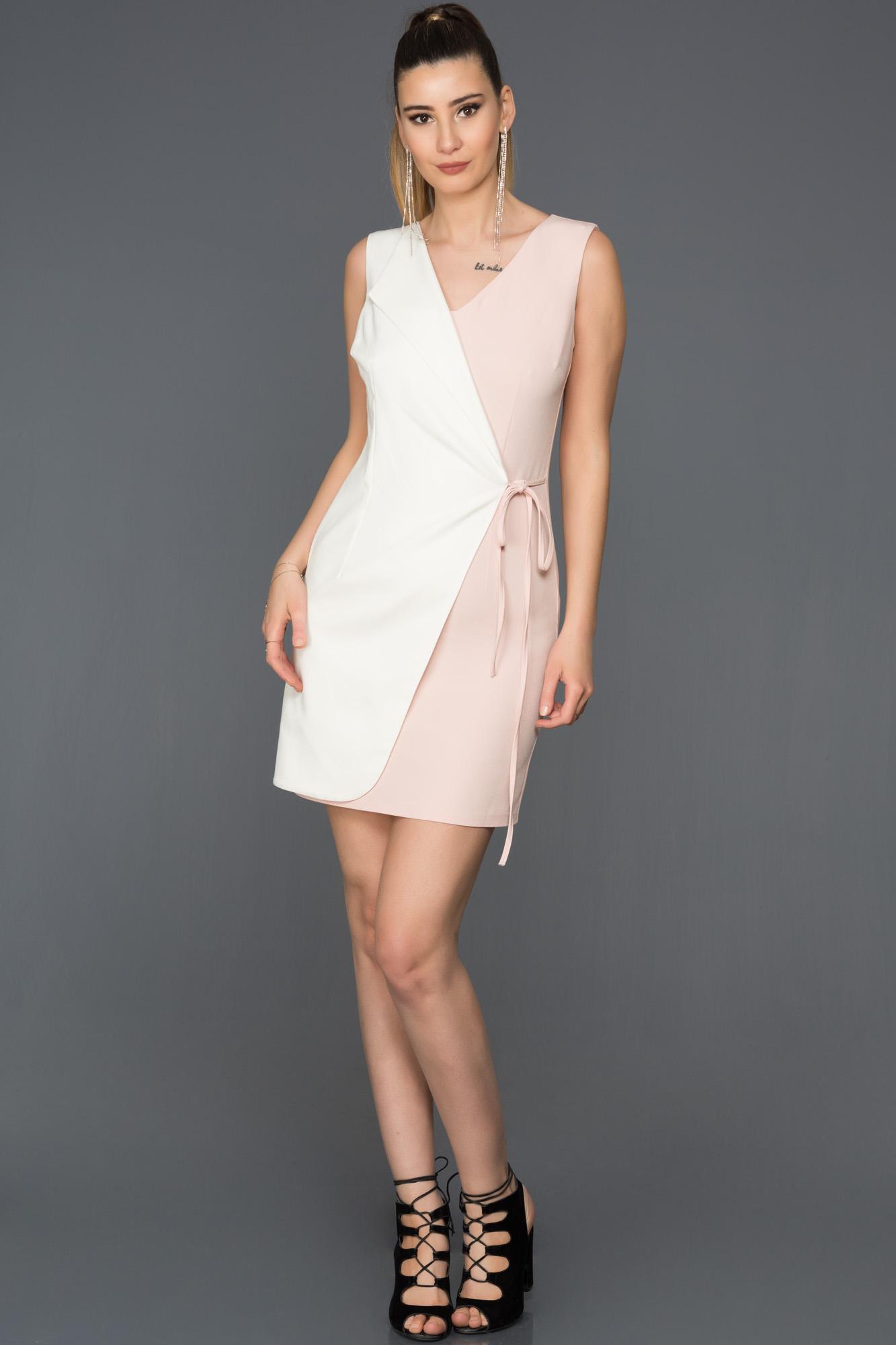 Kısa Pudra-Beyaz Iki Renk Elbise