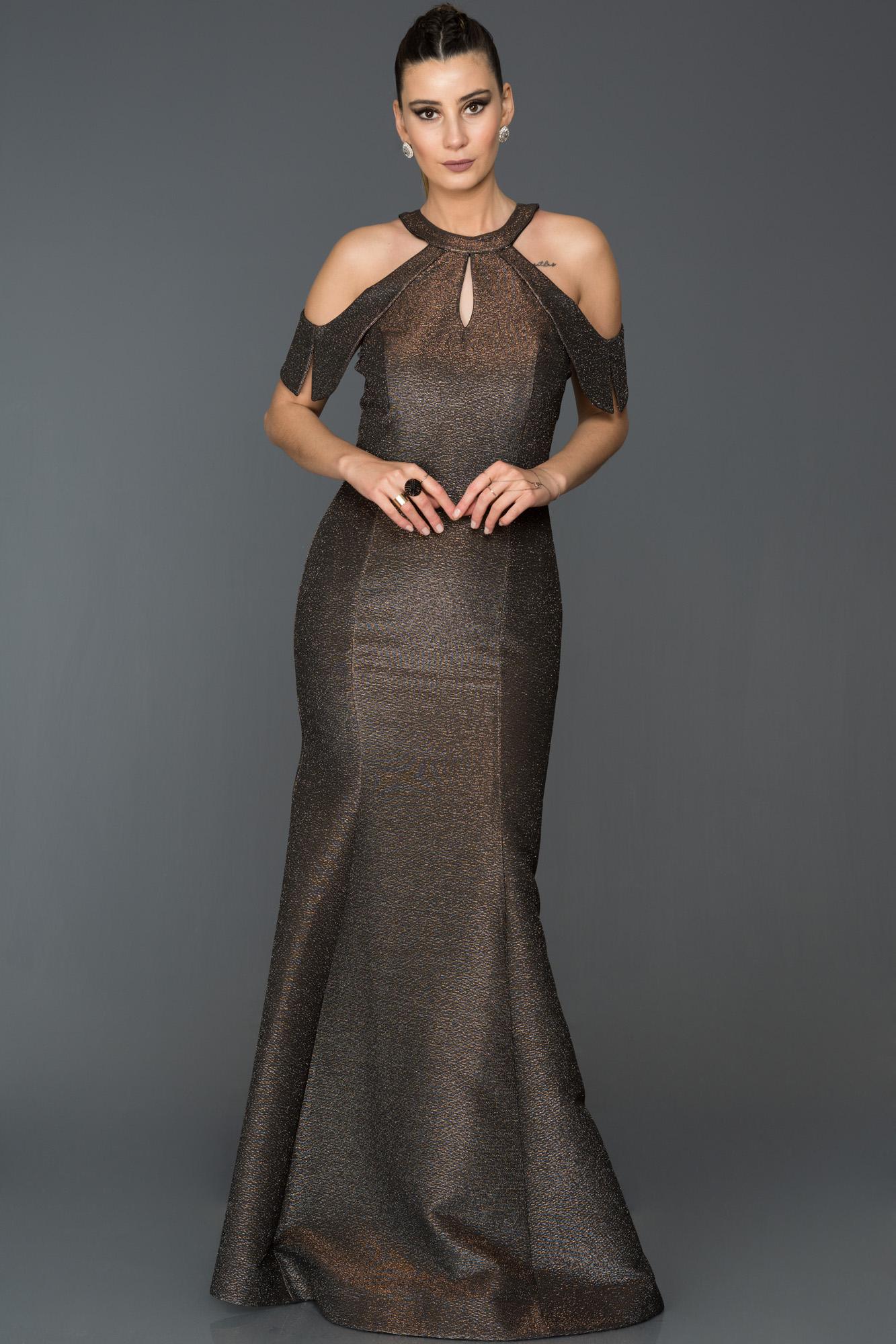 Gümüş-Bronz Simli Balık Abiye Elbise