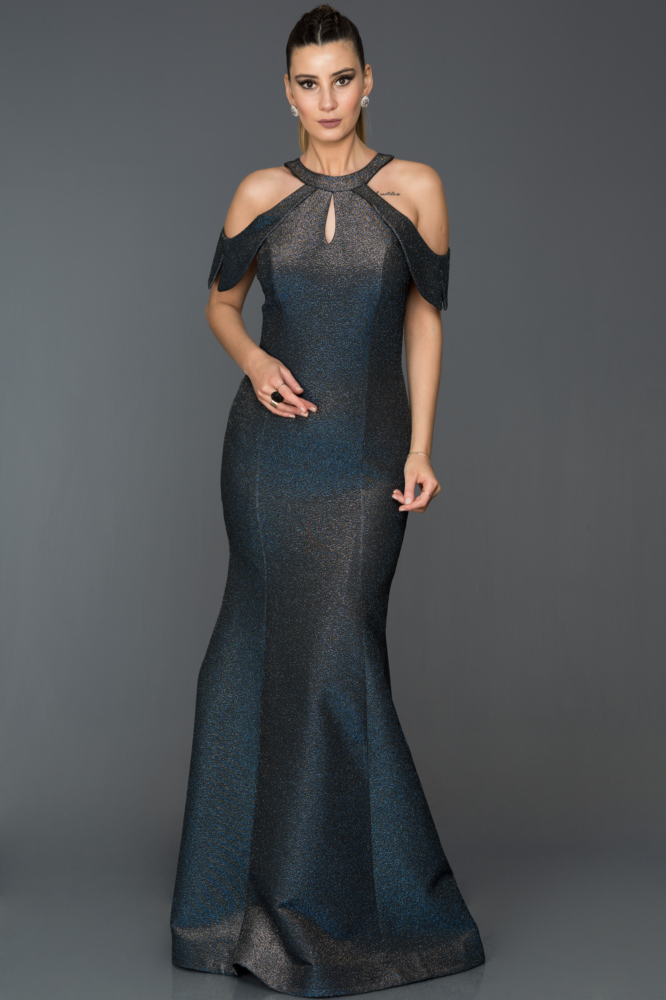 Saks Mavi-Gümüş Simli Balık Abiye Elbise