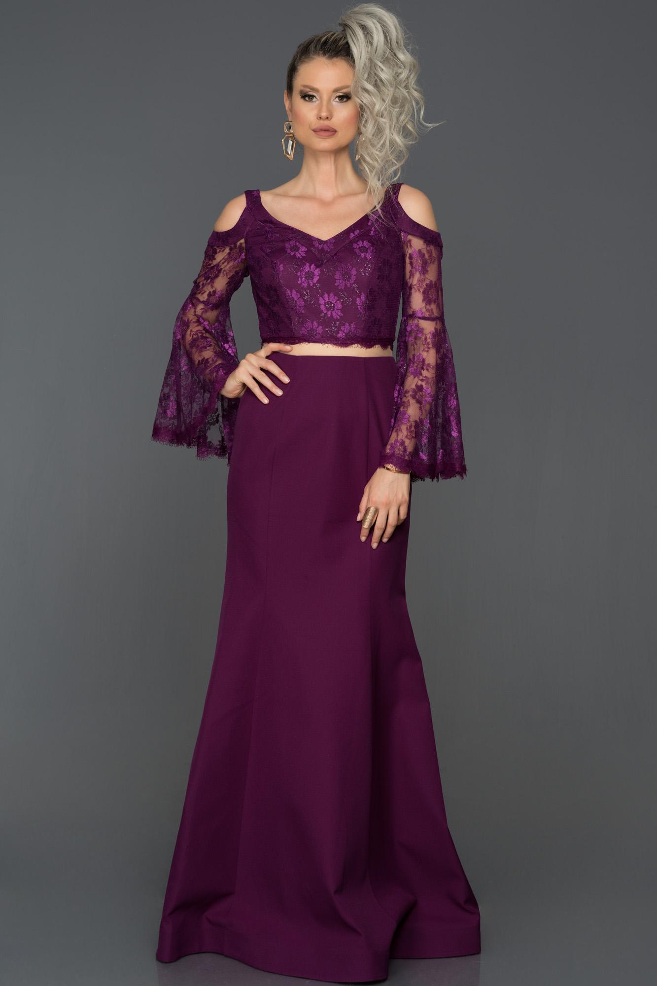 Violet Dantel Kollu Uzun Abiye