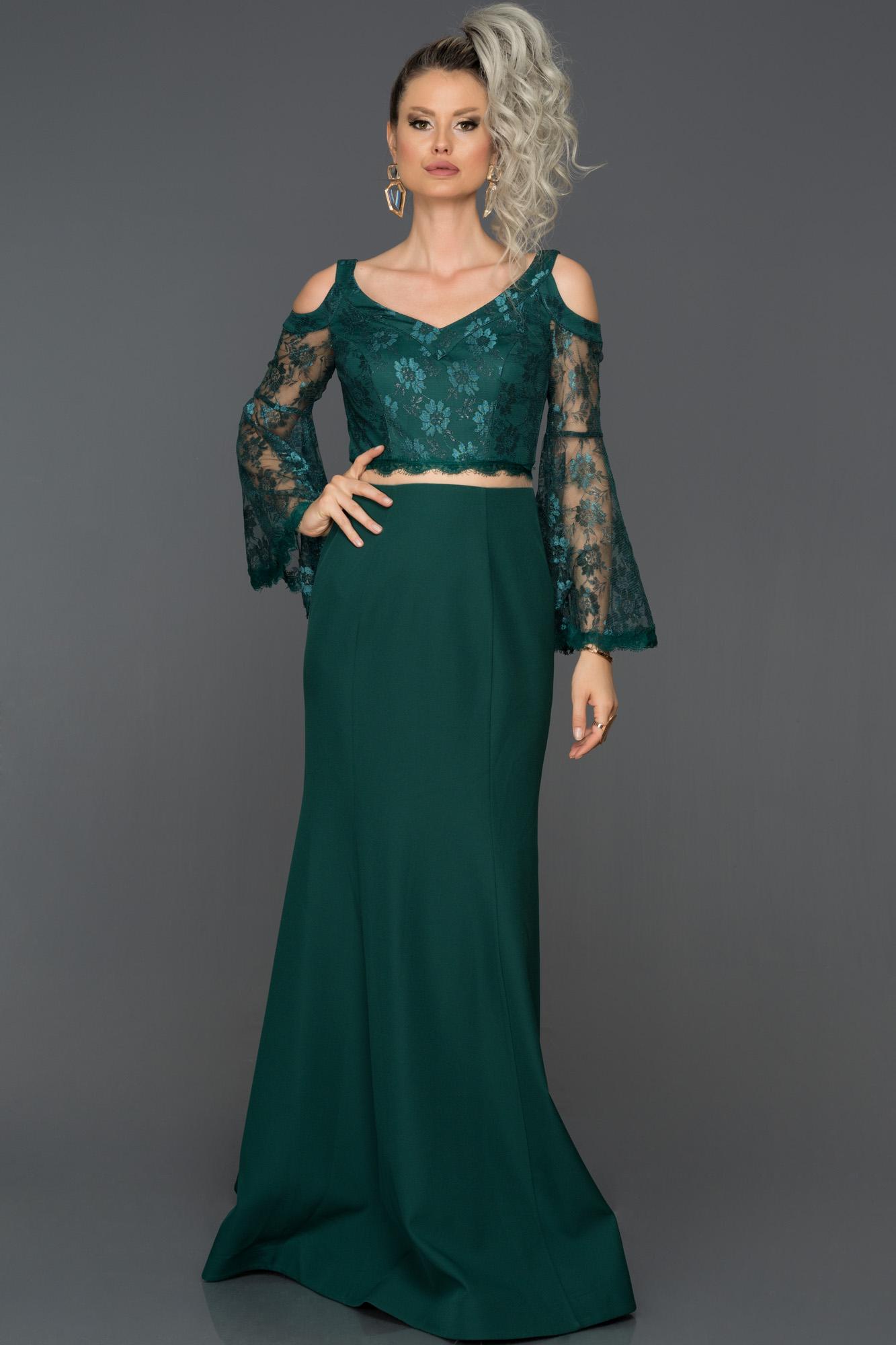 Zümrüt Yeşili Dantel Kollu Abiye Elbise