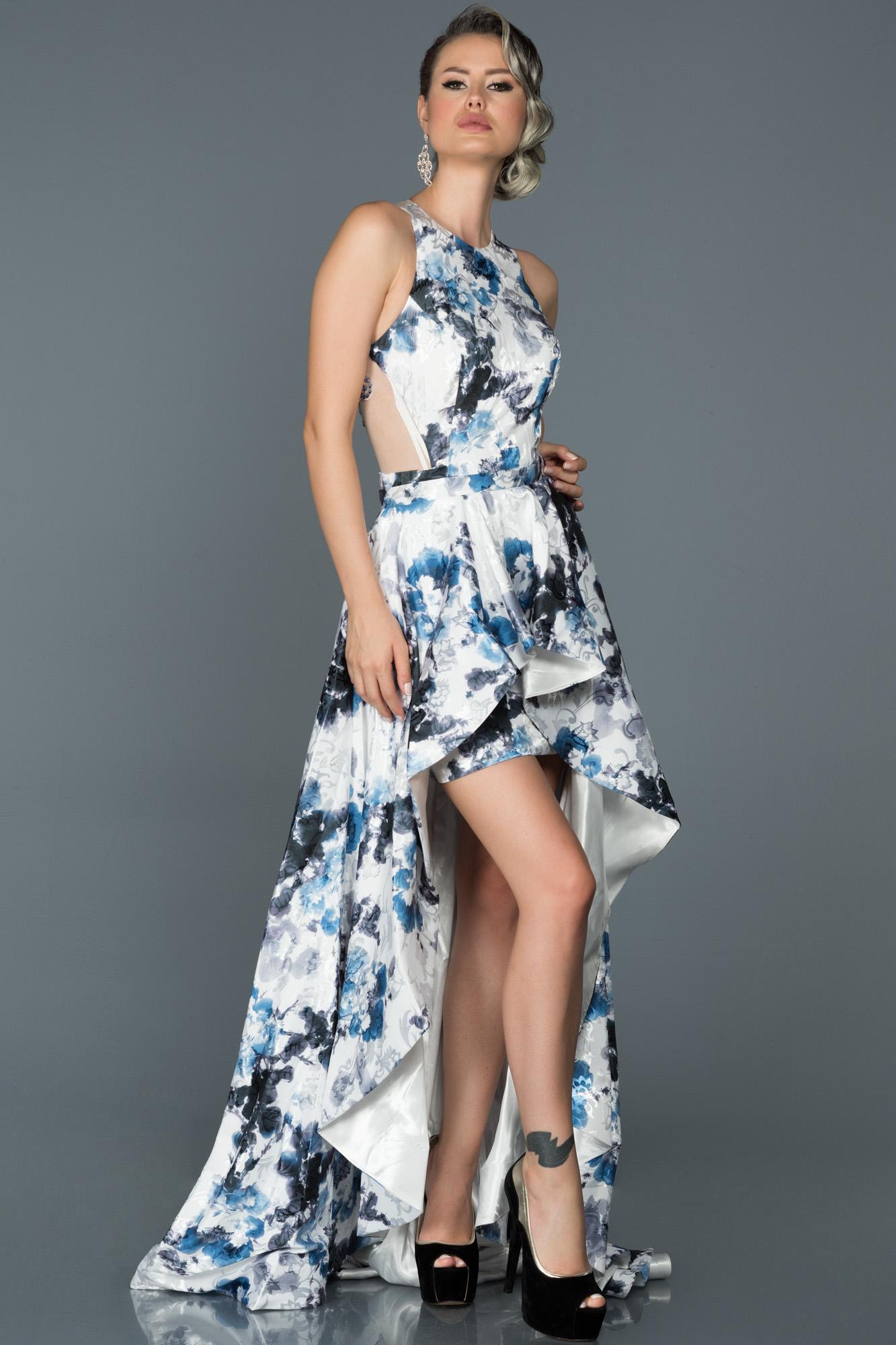 Mavi Çiçekli Iki Parça Özel Tasarım Abiye