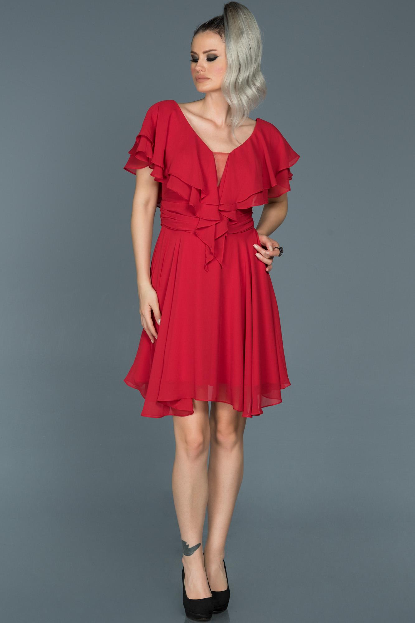 Kırmızı V Yaka Şifon Elbise