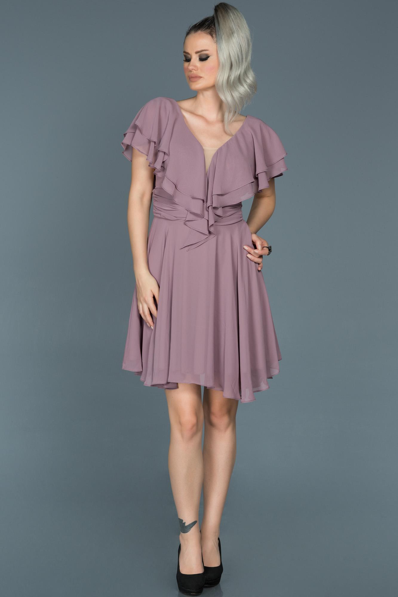 Lavanta V Yaka Şifon Elbise