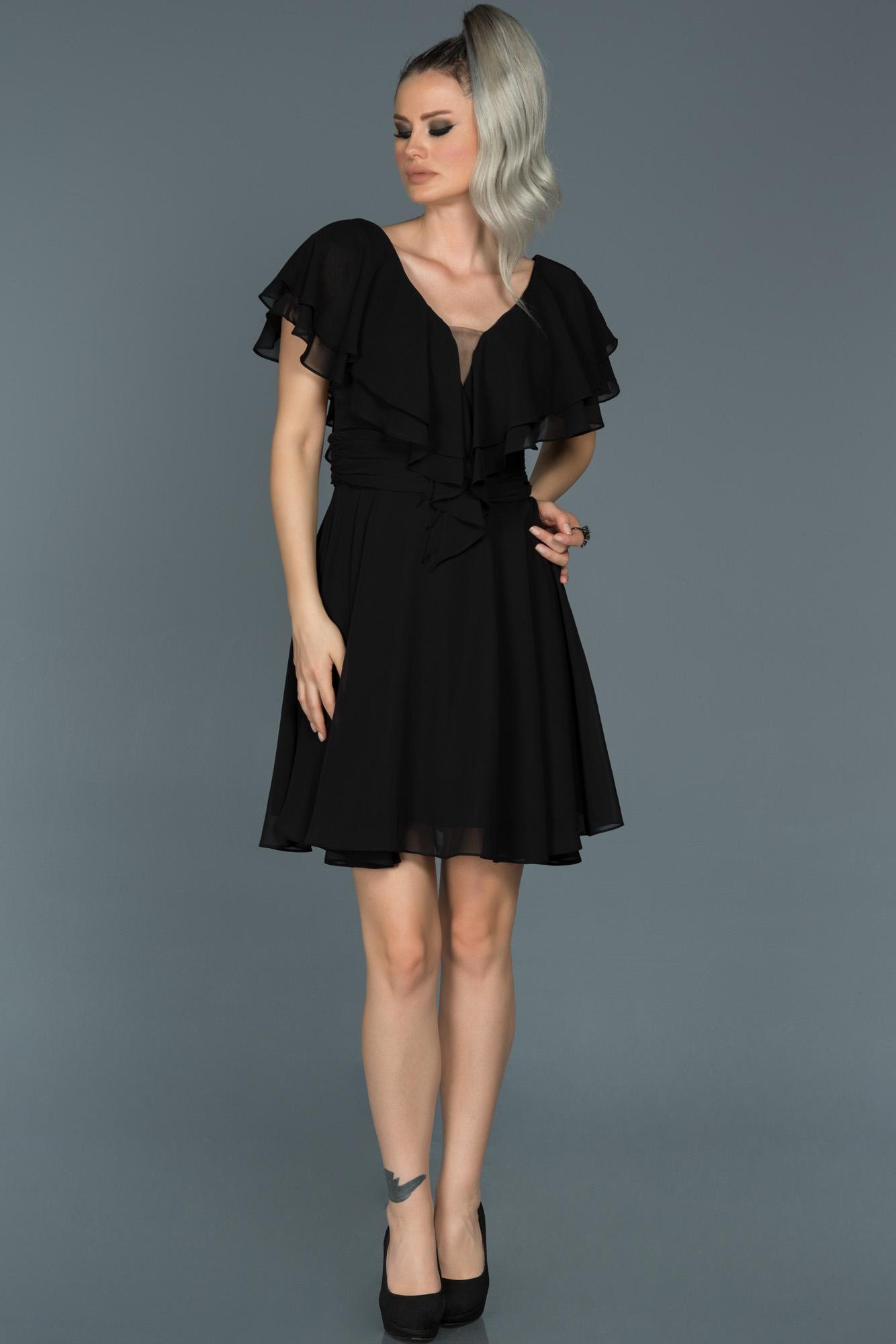 Siyah V Yaka Şifon Elbise