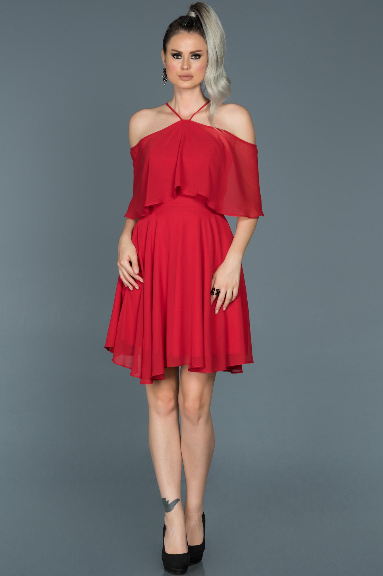 Kırmızı Kısa Şifon Davet Elbisesi