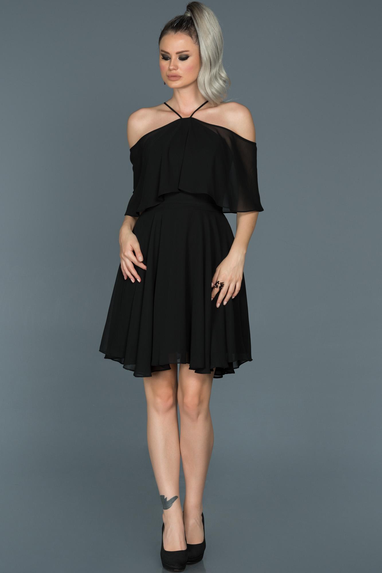 Siyah Kısa Şifon Davet Elbisesi