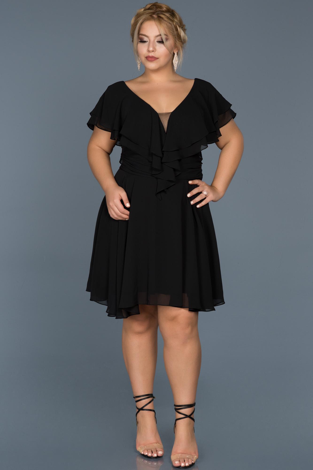 Siyah V Yaka Büyük Beden Şifon Elbise