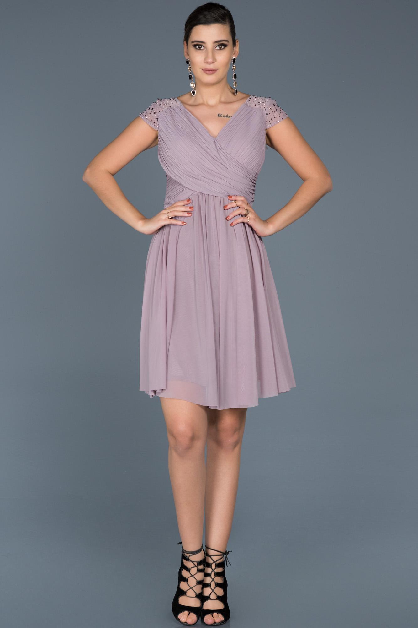 Açık Lavanta V Yaka Şifon Elbise