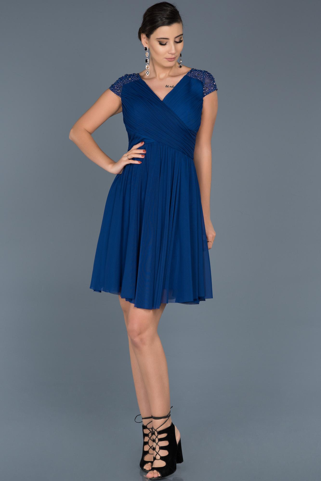 Saks Mavi V Yaka Şifon Elbise