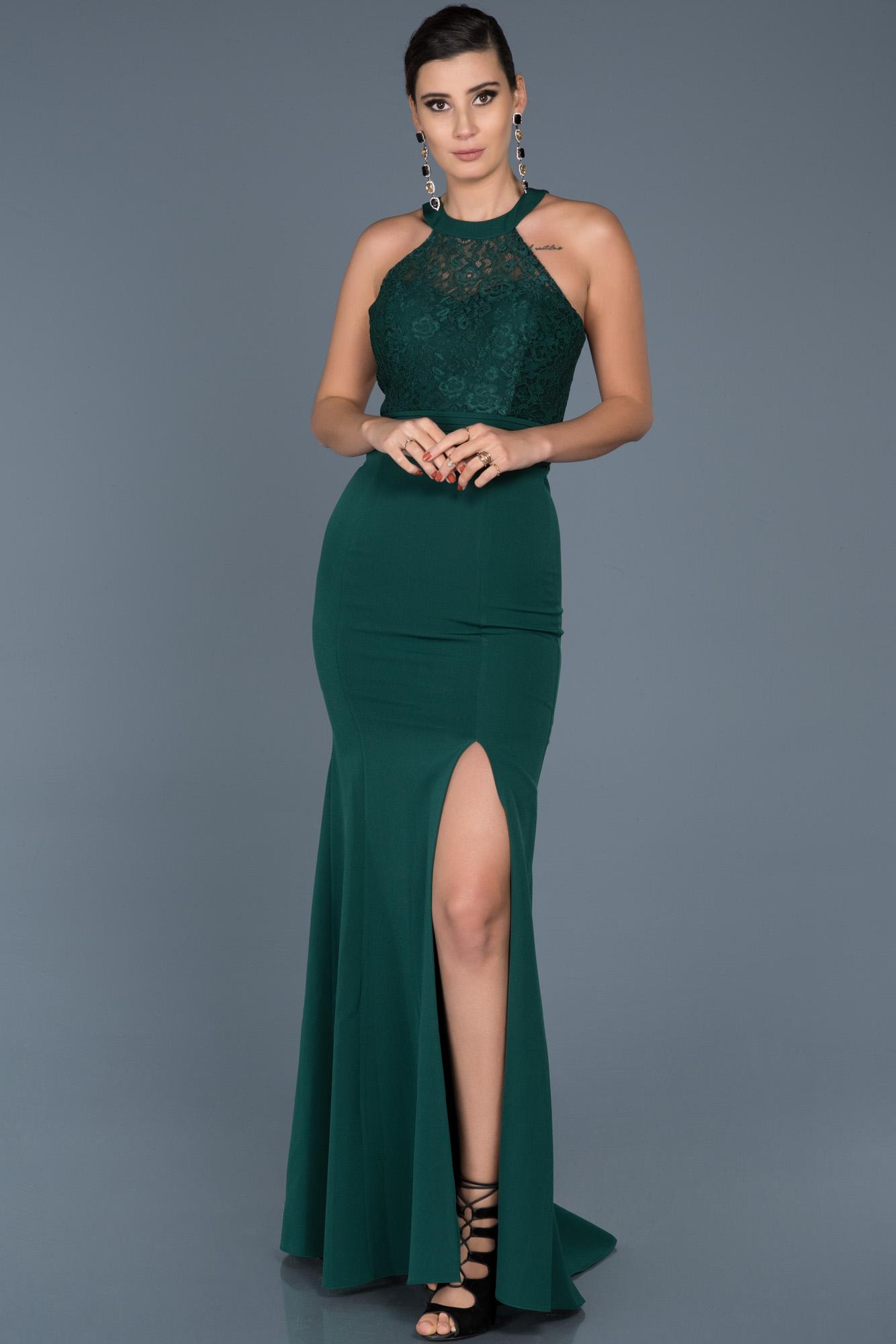 Zümrüt Yeşili Uzun Bacak Dekolteli Abiye Elbise
