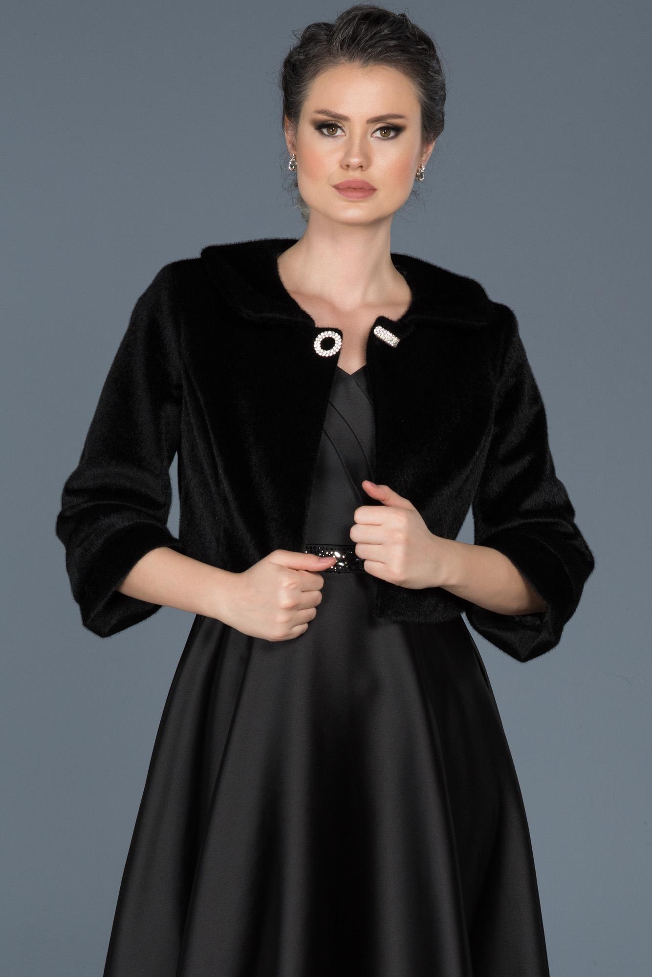 Siyah Kürklü Abiye Ceket