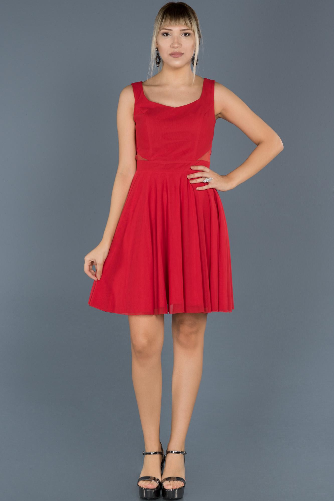 Kırmızı Kısa Tül Abiye Elbise