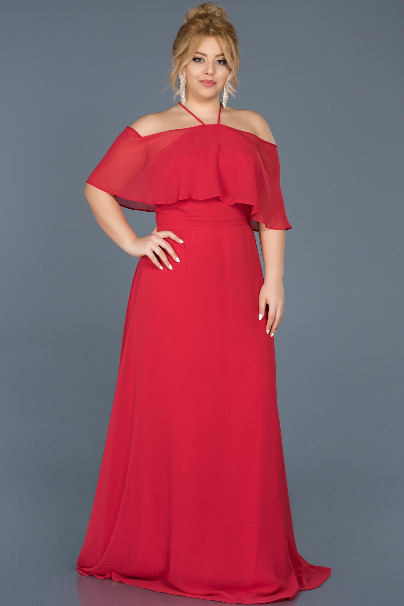 Kırmızı Şifon Büyük Beden Abiye Elbise