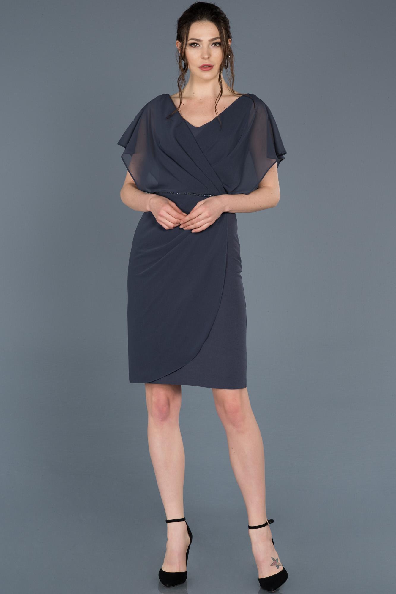 Indigo Kısa V Yaka Davet Elbisesi