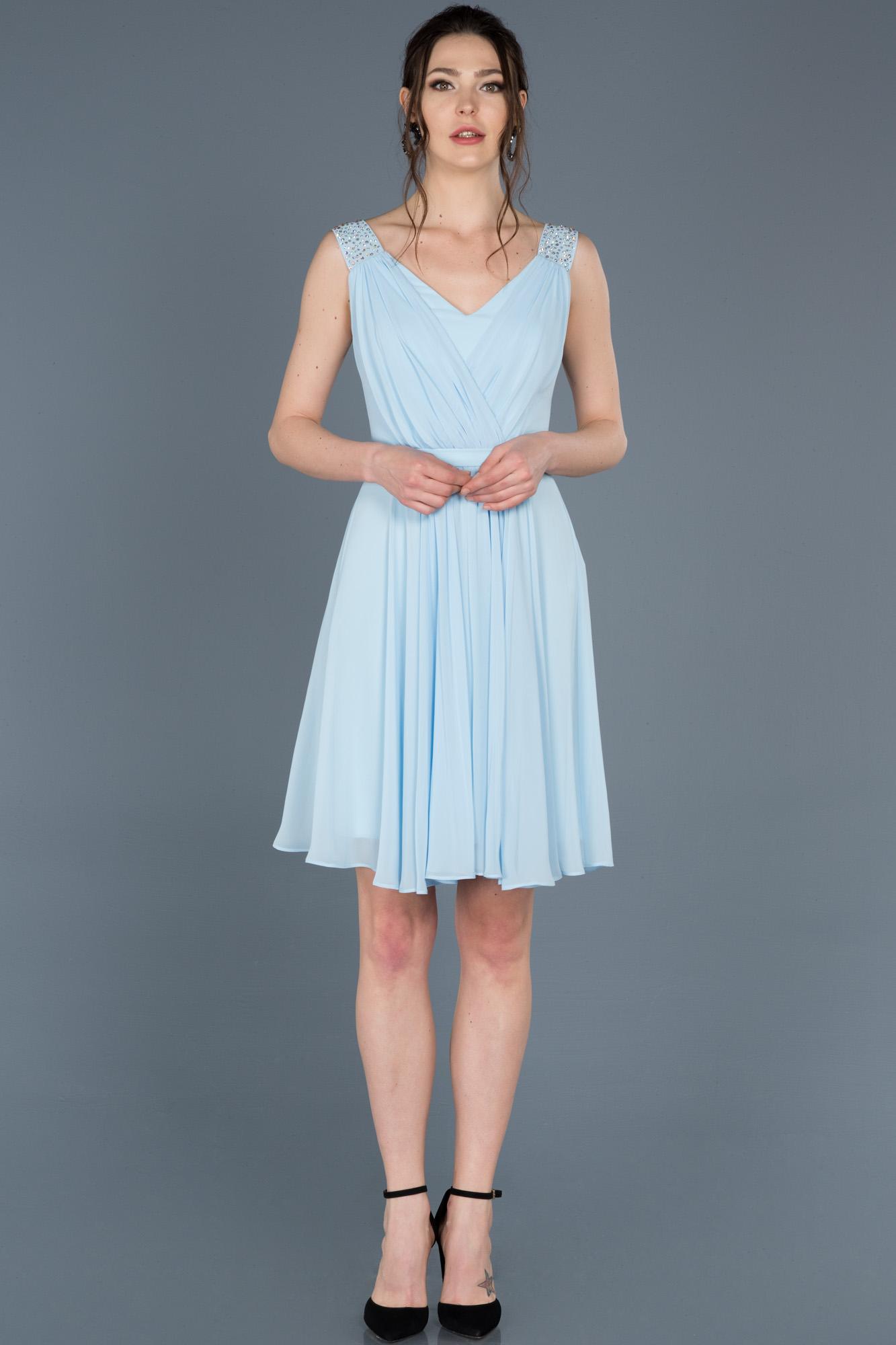Mavi Kısa V Yaka Mezuniyet Elbisesi