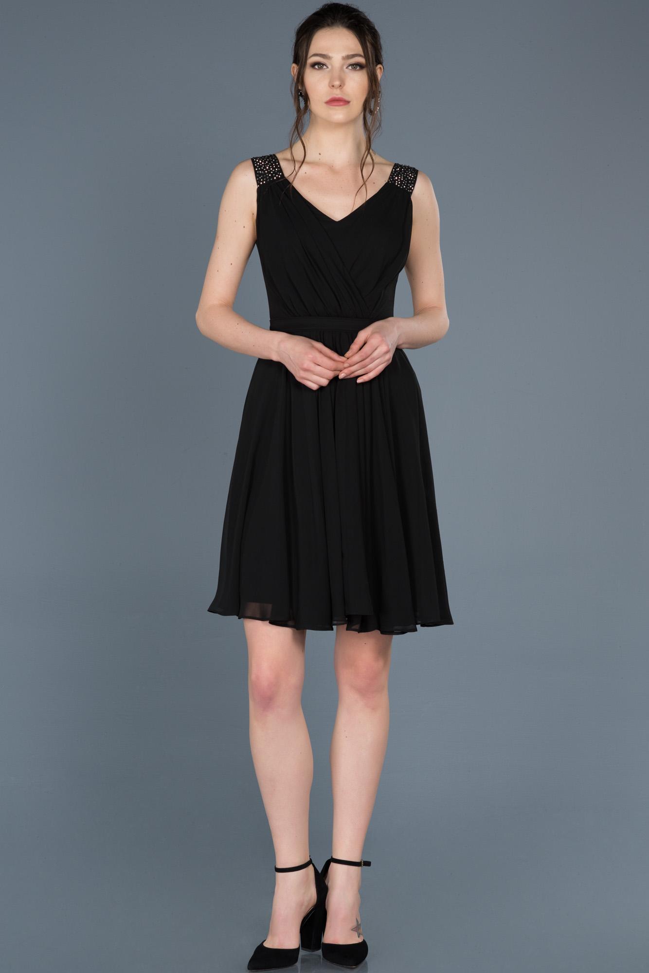 Siyah Kısa V Yaka Mezuniyet Elbisesi