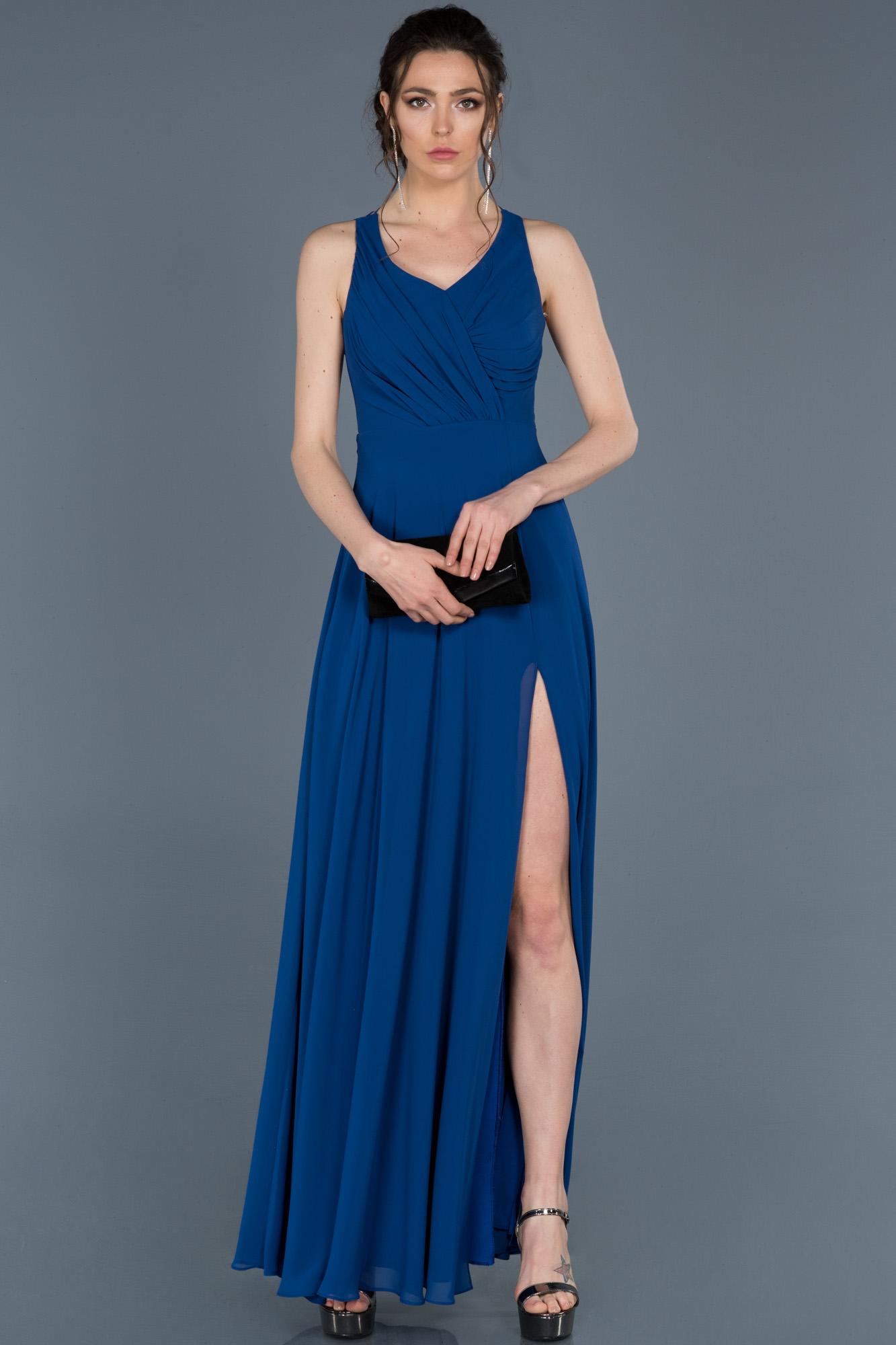 Saks Mavi Uzun Yırtmaçlı Abiye Elbise