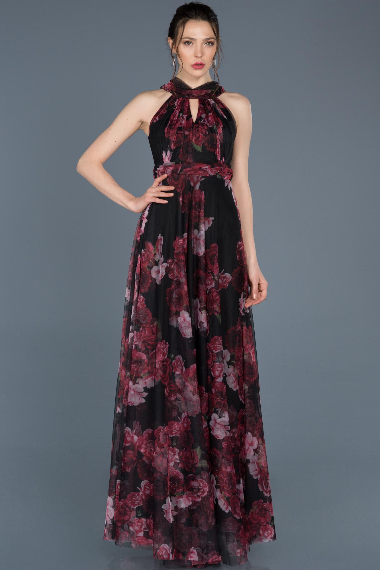 Mürdüm Uzun Çiçekli Abiye Elbise