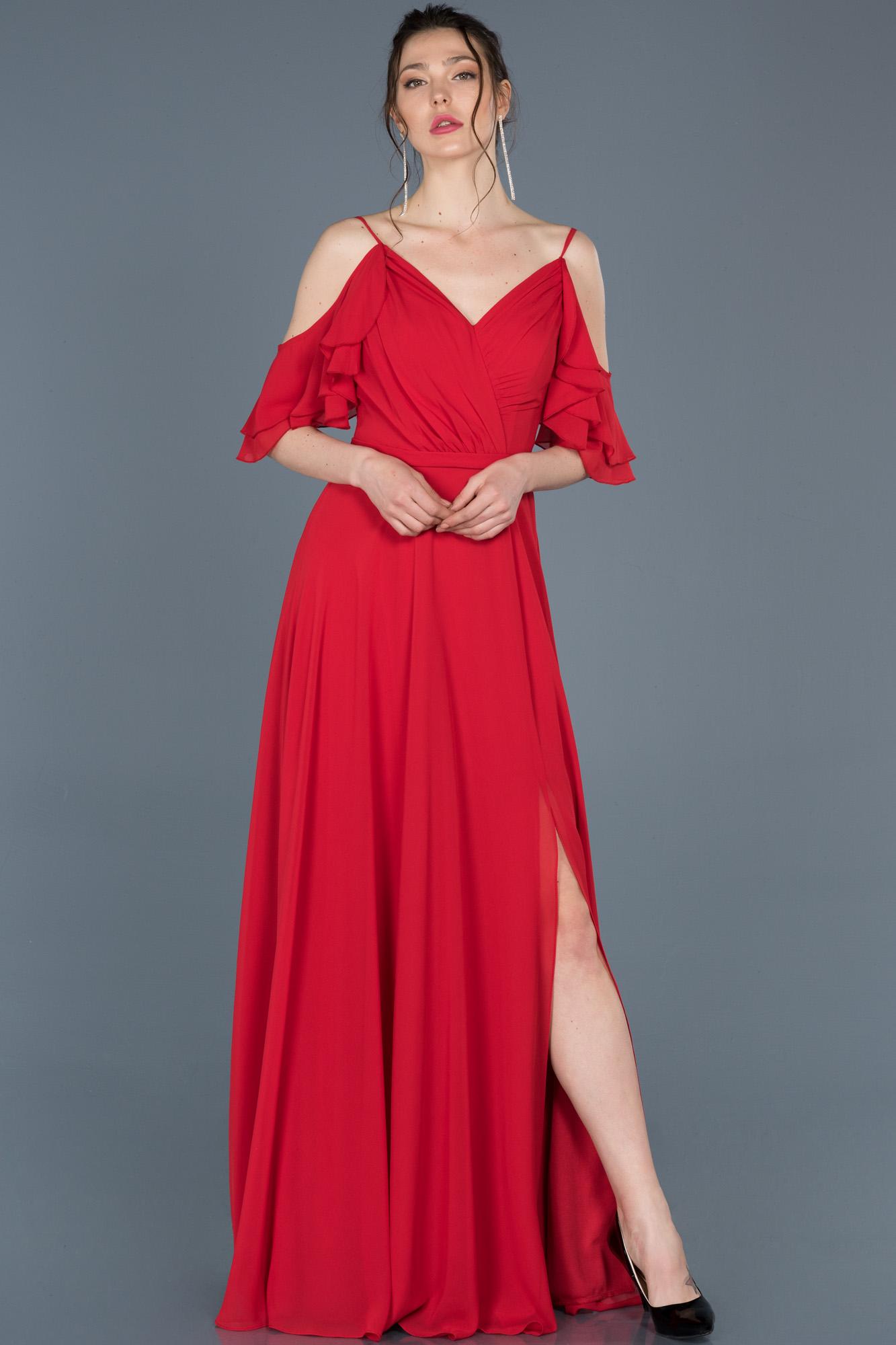 Kırmızı Uzun V Yaka Yırtmaçlı Abiye Elbise