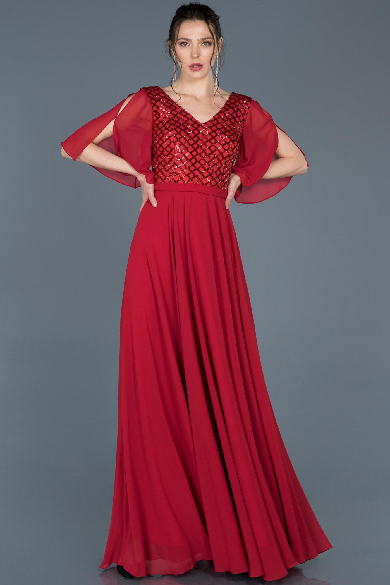 Kırmızı V Yaka Kısa Kollu Abiye Elbise