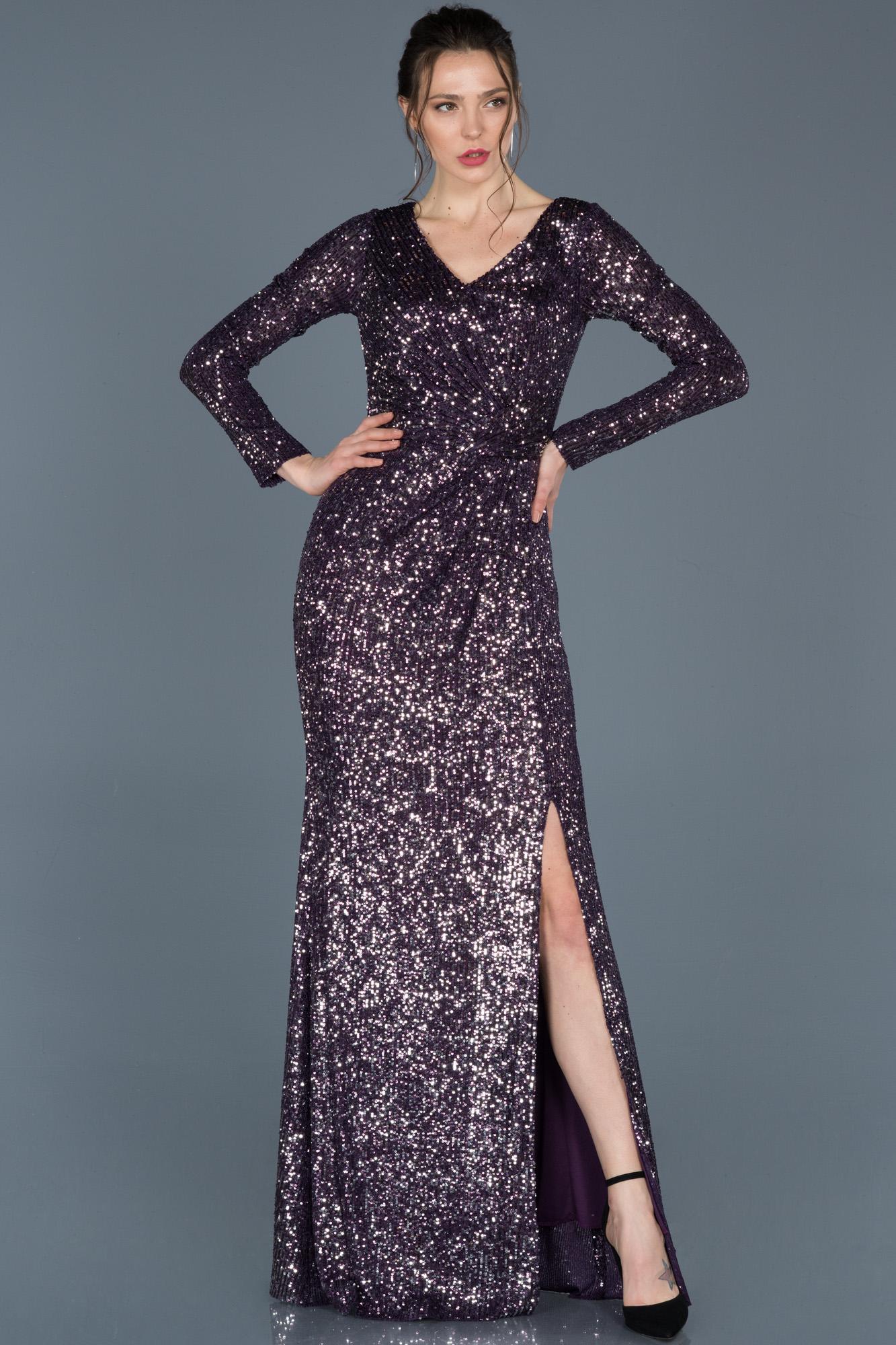 Violet Uzun Kollu Payetli Davet Elbisesi