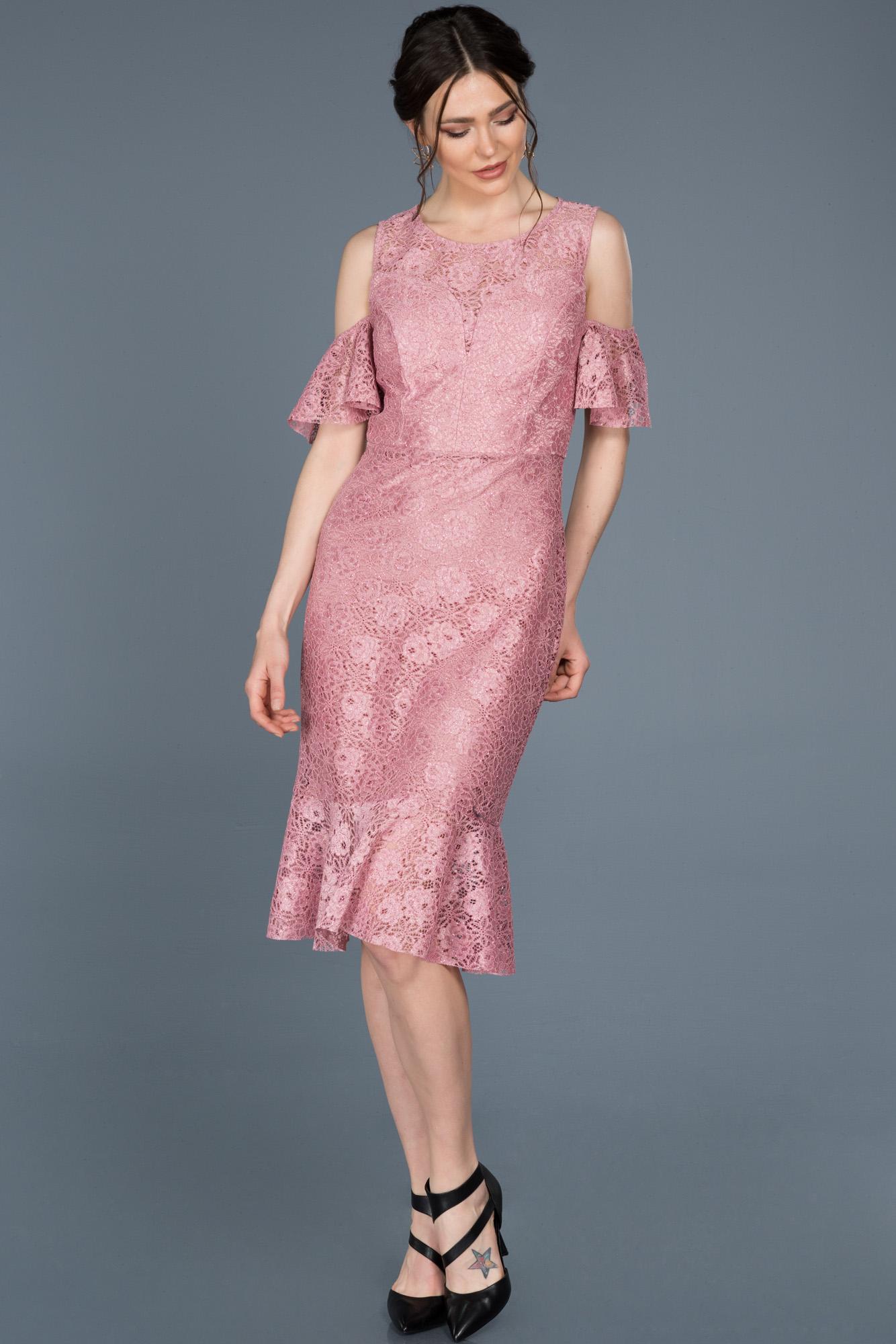 Midi Pudra Güpürlü Davet Elbisesi