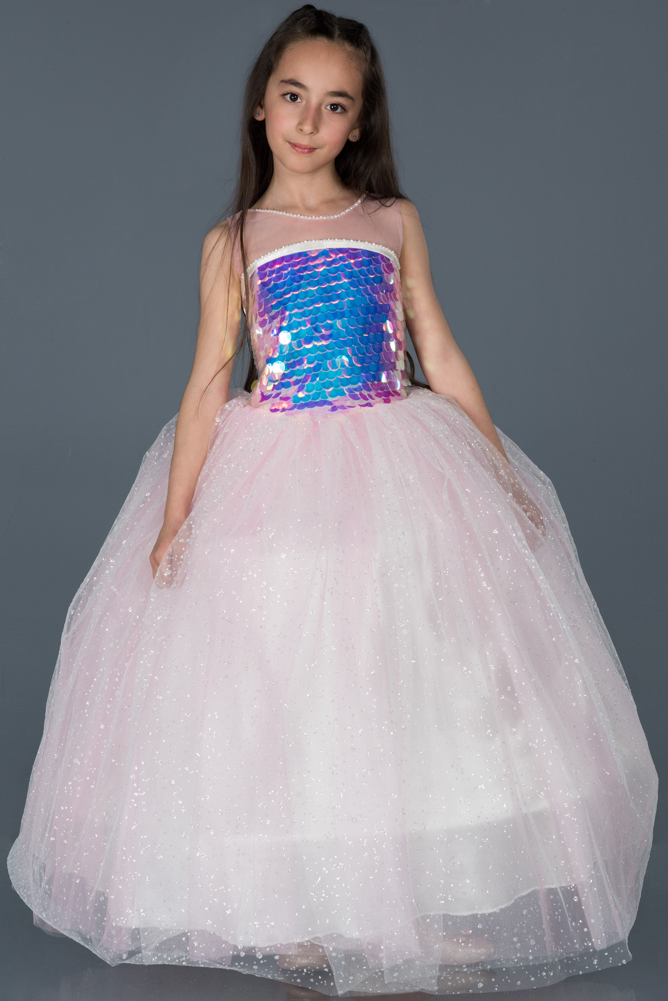 Pembe Pullu Prenses Çocuk Abiye