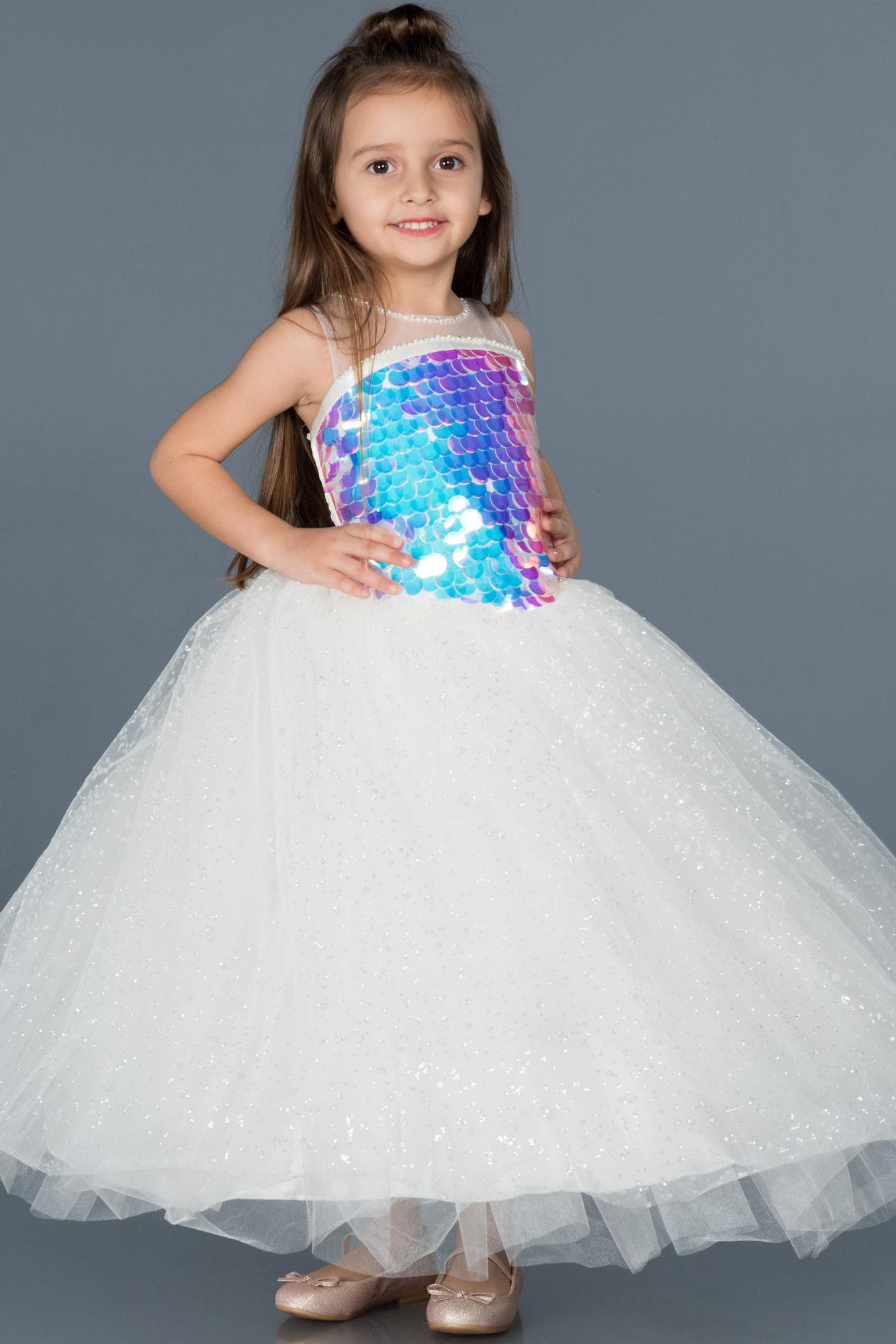 Krem Pullu Prenses Çocuk Abiye