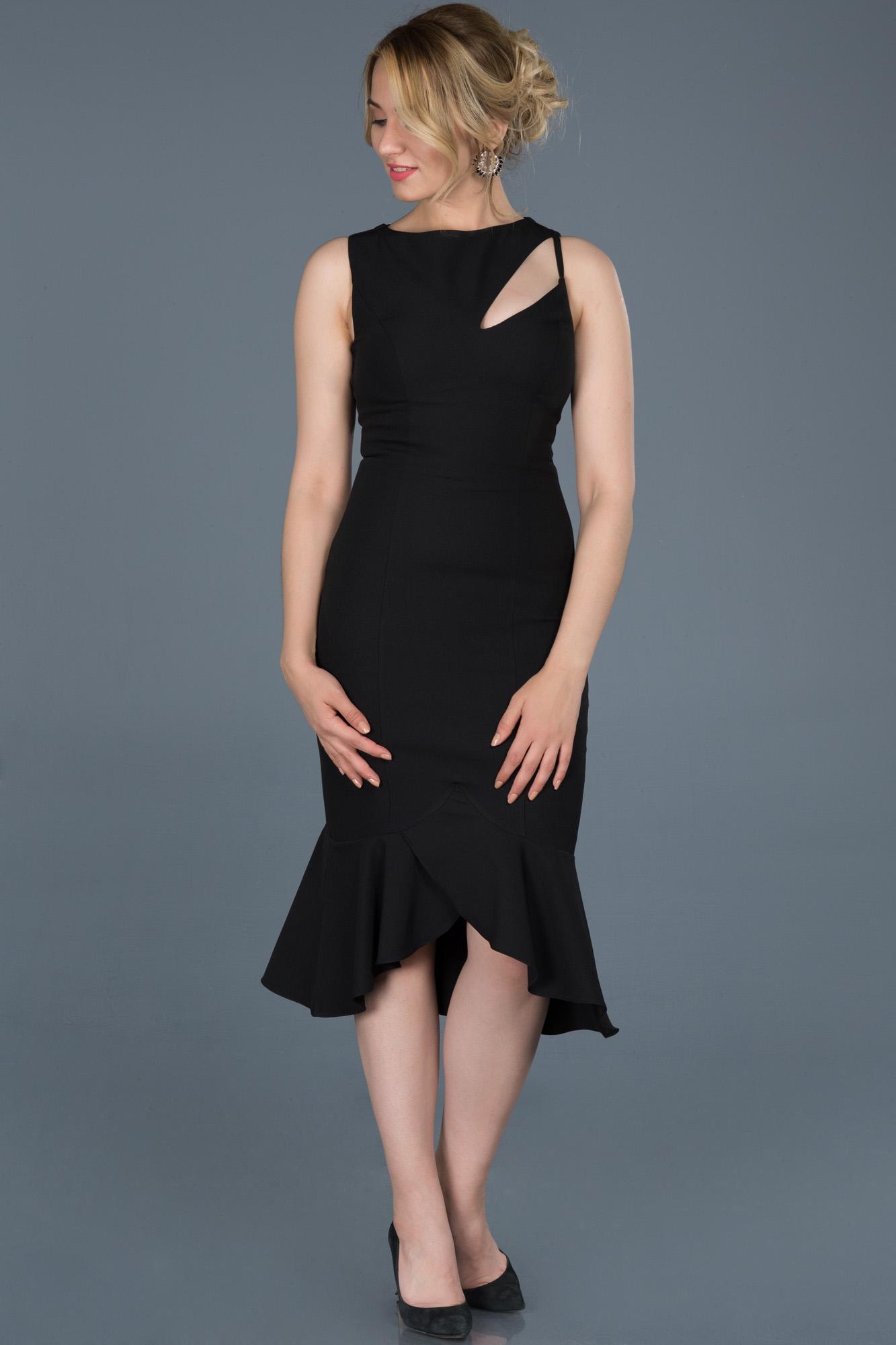 Siyah Midi Davet Elbisesi