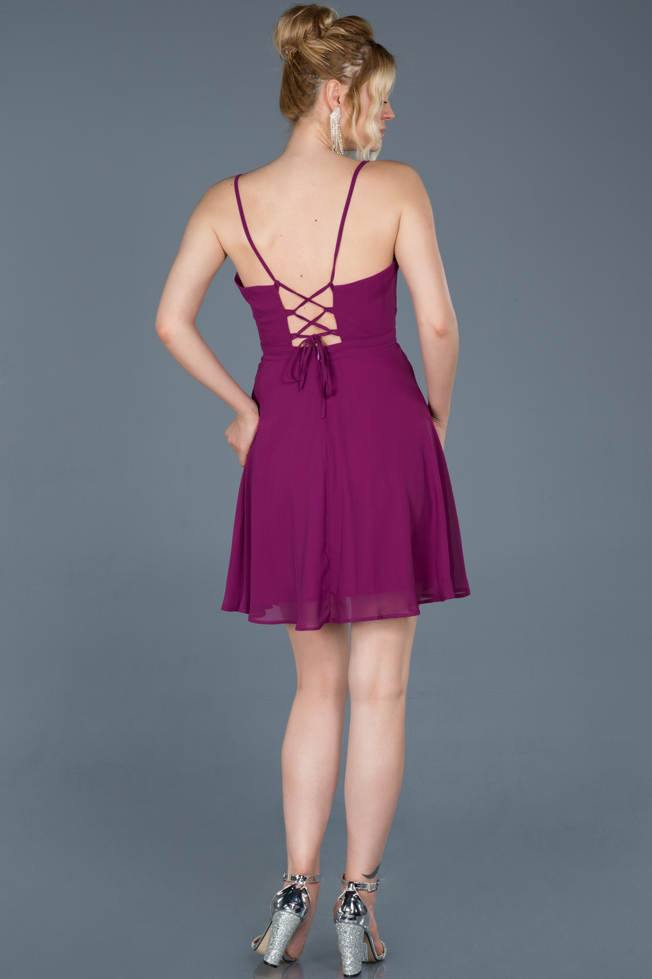 Violet Sırt Dekolteli Şifon Elbise