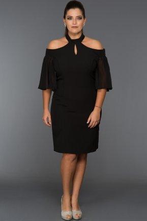 b6372e1198a46 Siyah Kolsuz Büyük Beden Elbise ABK272 | Abiyefon.com