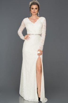 b0424e0be3109 Beyaz Uzun Kol Dantelli Abiye Elbise ABU031 | Abiyefon.com