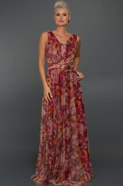 fd4a037dc1206 Uzun Mürdüm Çiçekli Abiye Elbise C7228 | Abiyefon.com